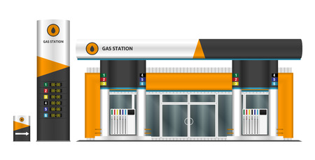 Gas station vector illustration. All elements in groups on separate layers.