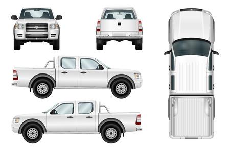 Pick-up truck vector sjabloon auto geïsoleerd op een witte achtergrond. Alle elementen in groepen op afzonderlijke lagen. Stockfoto - 64825348