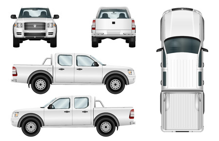 Pickup truck vector template isolated car on white background. All elements in groups on separate layers.