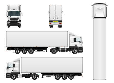 Vector truck trailer template isolated on white background. Cargo delivering vehicle. All elements in groups on separate layers.