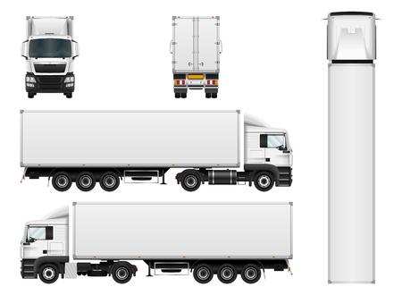 Vector LKW-Anhänger-Vorlage auf weißem Hintergrund. Cargo-Lieferung Fahrzeug. Alle Elemente in Gruppen auf separaten Ebenen.