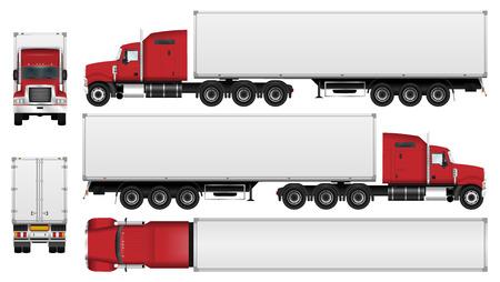 Großer LKW mit Anhängervektorschablone. Halb LKW getrennt auf weißem Hintergrund. Alle Elemente in Gruppen auf separaten Ebenen. Die Fähigkeit, die Farbe leicht zu ändern