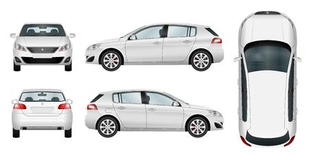 Car vector plantilla sobre fondo blanco. Hatchback aislado. Todos los elementos en grupos en capas separadas. La capacidad de cambiar fácilmente el color. Ilustración de vector