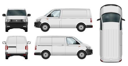 Car-Vorlage. Cargo-Minivan auf weißem Hintergrund. Alle Elemente in Gruppen auf separaten Ebenen. Die Fähigkeit, leicht die Farbe zu ändern.