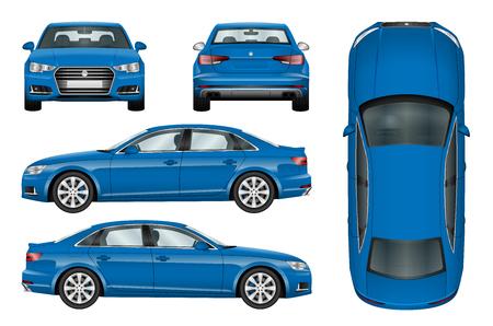 Blauwe auto vector sjabloon op witte achtergrond. Business sedan geïsoleerd. Alle elementen in groepen op afzonderlijke lagen. De mogelijkheid om de kleur gemakkelijk te veranderen.