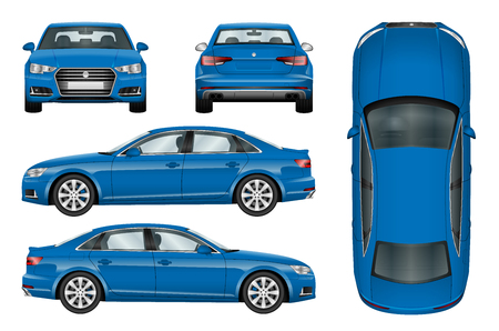 window view: Blue car vector template on white background. Business sedan isolated. All elements in groups on separate layers. The ability to easily change the color.