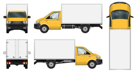 Yellow delivery van vector template. Isolated mini truck on white background. All elements in groups on separate layers. The ability to easily change the color. Vettoriali
