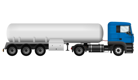 Blue lorry with white cistern. Isolated tanker truck on white background, side view. Cargo vehicle template. All elements in groups on separate layers. The ability to easily change the color. Stock Illustratie