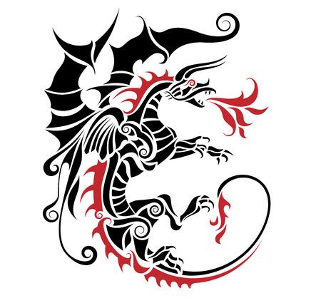 Tribal dragon tattoo vector illustration