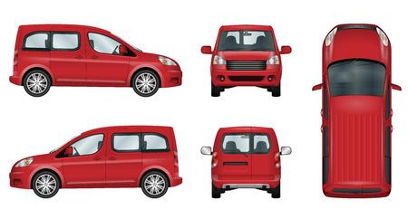 빨간 차 벡터 템플릿입니다. 격리 된 가족 차량 흰색 배경에 설정입니다. 별도 레이어에 그룹의 모든 요소입니다. 색상을 쉽게 변경할 수있는 기능.