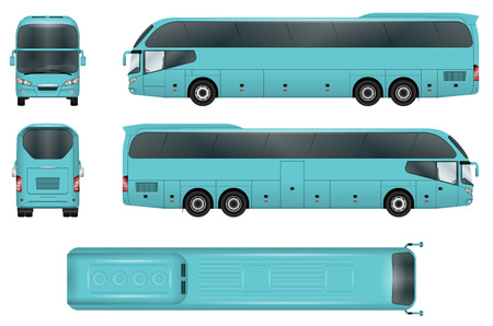 Travel bus vector template. Coach isolated on white background. All elements in groups on separate layers. The ability to easily change the color.