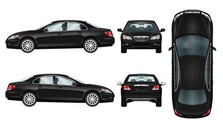 Modèle de vecteur voiture noire. Sedan d'affaires isolée. La possibilité de changer facilement la couleur. Toutes les parties en groupes sur des couches distinctes. Vue du côté, du dos, de l'avant et du haut. Banque d'images - 69253628
