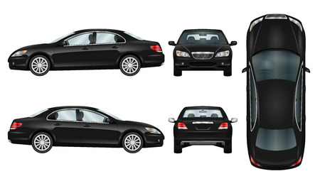 Black car vector template. Business sedan isolated. The ability to easily change the color. All sides in groups on separate layers. View from side, back, front and top. Stock Illustratie