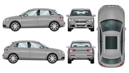 Silber Suv auf weißem Hintergrund. Auto Vorlage. Die Fähigkeit, die Farbe leicht zu ändern. Alle Seiten in Gruppen auf separaten Ebenen. Blick von der Seite; zurück; Vorne und oben. Standard-Bild - 69261819