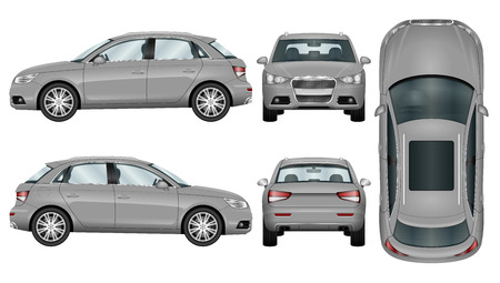 Silver Suv on white background. Car template. The ability to easily change the color. All sides in groups on separate layers. View from side; back; front and top.