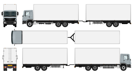 Trailer truck template. Isolated vector freight car. The ability to easily change the color. All sides in groups on separate layers. View from side, back, front and top. Vettoriali