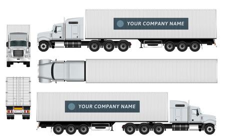 Fracht-Container-LKW-Vorlage auf weißen Hintergrund. Die Möglichkeit, auf einfache Weise die color.All Seiten in Gruppen auf separaten Ebenen zu ändern. Blick von der Seite, von hinten, vorne und oben.
