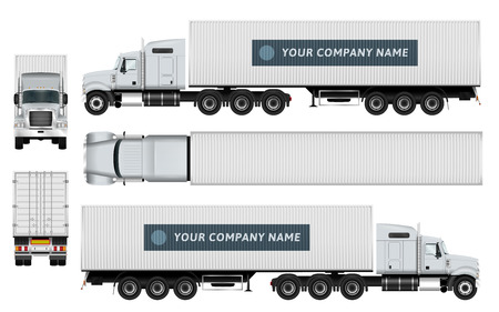 Cargo container truck template on white background. The ability to easily change the color.All sides in groups on separate layers. View from side, back, front and top. Vettoriali