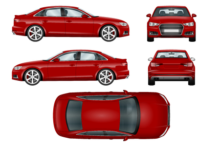 Red sport car vector template. The ability to easily change the color. All sides in groups on separate layers. View from side, back, front and top.
