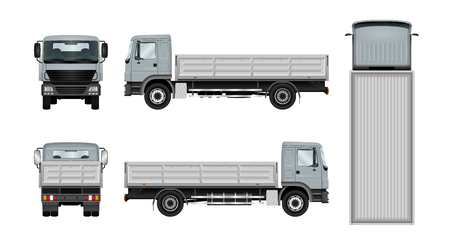 Work truck template. Vector isolated lorry on white. The ability to easily change the color. All sides in groups on separate layers. View from side, back, front and top.