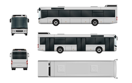 City bus vector template. Isolated passenger transport on white background. The ability to easily change the color. All sides in groups on separate layers. View from side, back, front and top.