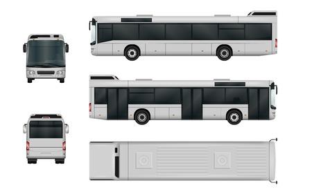 Stadtbus-Vektor-Vorlage. Isoliert Passagiertransport auf weißem Hintergrund. Die Fähigkeit, die Farbe leicht zu ändern. Alle Seiten in Gruppen auf separaten Ebenen. Ansicht von Seite, Rückseite, vorne und oben.