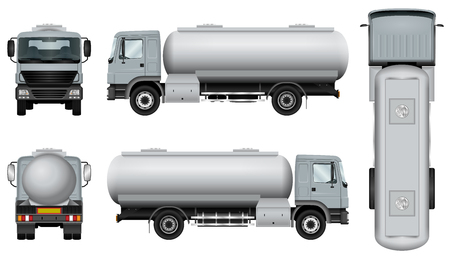 Ciężarówka z przyczepą cysterny. Szablon samochodu cysterny. Możliwość łatwej zmiany koloru. Wszystkie strony w grupach na osobnych warstwach. Widok z boku, z tyłu, z przodu i z góry. Ilustracje wektorowe