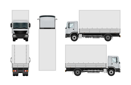 Delivery truck template. Semitruck isolated on white. The ability to easily change the color. View from side, back, front and top. All sides in groups on separate layers.