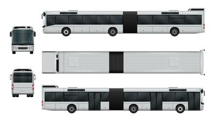 Ilustración de vector de autobús de ciudad articulada. Transporte urbano aislado en blanco. La capacidad de cambiar fácilmente el color. Vista lateral, posterior, frontal y superior. Todos los lados en grupos en capas separadas. Ilustración de vector