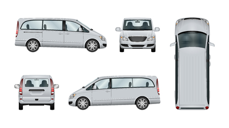 Family minivan vector template. Isolated van car on white backgroung. The ability to easily change the color. View from side, back, front and top. All sides in groups on separate layers. Stock Illustratie