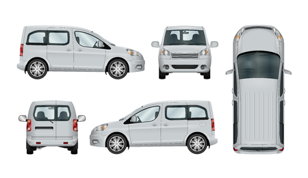 White service car template. Vector commercial vehicle isolated. The ability to easily change the color. View from side, back, front and top. All sides in groups on separate layers. Vettoriali