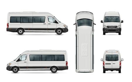 화이트 밴 서식 파일입니다. 격리 된 승객 미니 버스입니다. 그룹의 모든 요소에는 이름이 있으며보기 측면은 별도의 레이어에 있습니다. 쉽게 편집 할