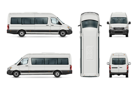 White van vector template. Isolated passenger mini bus. All elements in the groups have names, the view sides are on separate layers. There is the ability to easily editing. Illustration