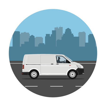 Van on the road over city background. Vector illustration. Flat design, without gradients.