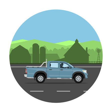 rural road: Pickup truck on the village road. Man driving the car. Vector illustration. Flat design, without gradients. Illustration