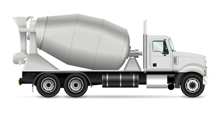 Mixer truck vector illustration. View from side. Template for corporate identity and branding. All layers and groups well organized for easy editing and recolor.
