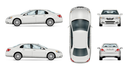 Car vector template on white background. Business sedan isolated. All layers and groups well organized for easy editing and recolor. View from side, front, back, top.