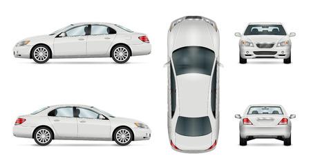 Auto vectormalplaatje op witte achtergrond. Zakelijke sedan geïsoleerd. Alle lagen en groepen goed georganiseerd voor eenvoudige bewerking en recolor. Zicht vanaf zijkant, voorkant, achterkant, bovenkant.