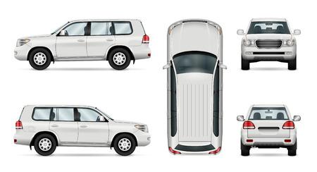 Offroad-LKW-Vorlage. Vektor lokalisiertes Auto auf Weiß. Alle Ebenen und Gruppen sind für die einfache Bearbeitung und Umfärbung gut organisiert. Blick von der Seite, vorne, hinten, oben.