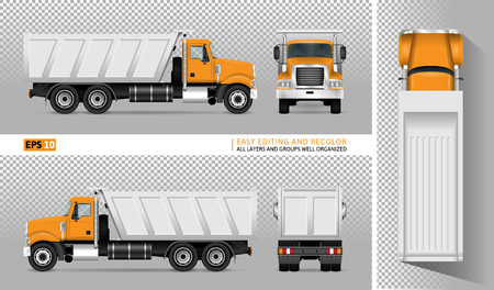 Vector dump truck. Illustration
