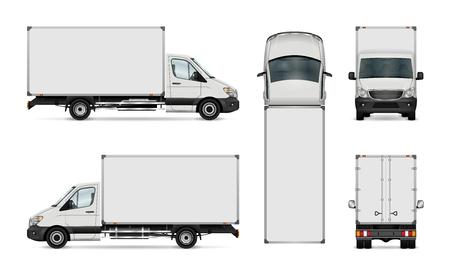 화이트 밴 서식 파일입니다. 격리 된 배달 트럭입니다. 그룹의 모든 요소에는 이름이 있으며보기 측면은 쉽게 편집 할 수 있도록 별도의 레이어에 있습니다. 측면, 후면, 전면 및 상단에서 봅니다. 벡터 (일러스트)