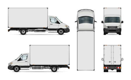 White van vector template. Isolated delivery truck. All elements in the groups have names, the view sides are on separate layers for easy editing. View from side, back, front and top. Vectores