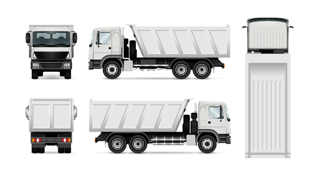 Vector dump truck. Isolated white tipper lorry. All elements in the groups have names, the view sides are on separate layers for easy editing. View from side, back, front and top. Stock Illustratie