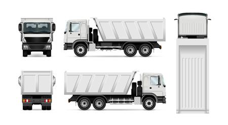 Vektor-Muldenkipper. Getrennter weißer Kipper Lastwagen. Alle Elemente in den Gruppen haben Namen, die Ansichtsseiten sind für eine einfache Bearbeitung auf separaten Ebenen angeordnet. Ansicht von der Seite, von hinten, von vorne und von oben.