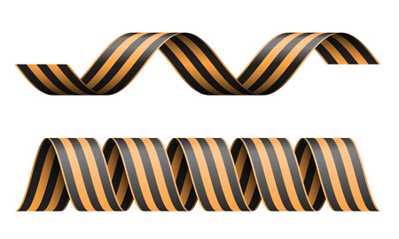 Vector striped St George ribbon isolated on white background. Symbol of victory day May 9.