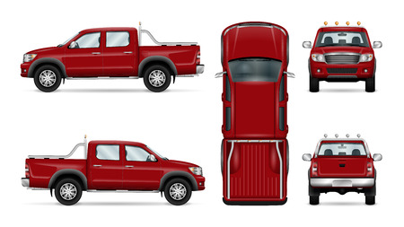 Red pickup truck vector illustration. Four wheel drive car isolated on white. All layers and groups well organized for easy editing and recolor. View from side, back, front and top.