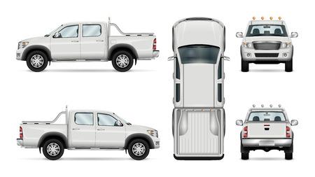 Pick-up truck vector sjabloon, geïsoleerde auto op witte achtergrond. Alle lagen en groepen goed georganiseerd voor eenvoudige bewerking en recolor. Zicht vanaf zijkant, voorkant, achterkant, bovenkant.