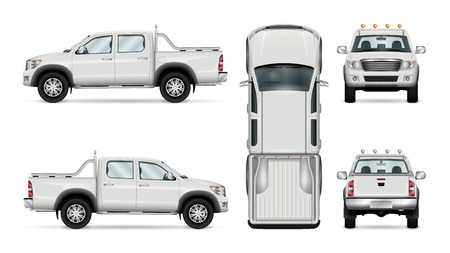 Pickup truck vector template, isolated car on white background. All layers and groups well organized for easy editing and recolor. View from side, front, back, top. Stock fotó - 76507675