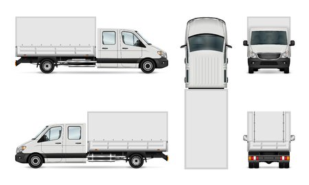 Cargo van vector illustration. Isolated commercial vehicle on white.