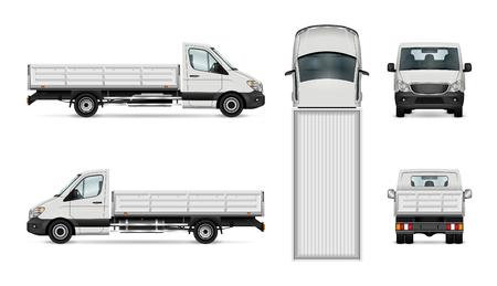 Flatbed truck vector illustratie. Geïsoleerde witte vrachtwagen.